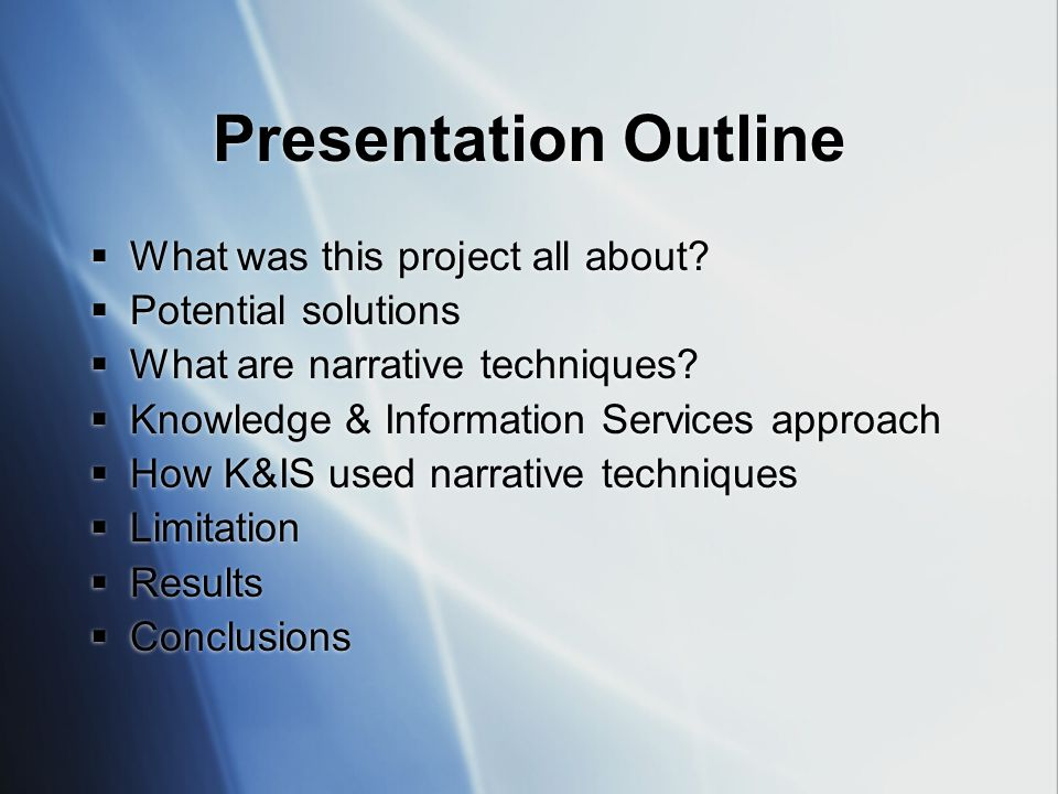 Presentation Outline  What was this project all about.