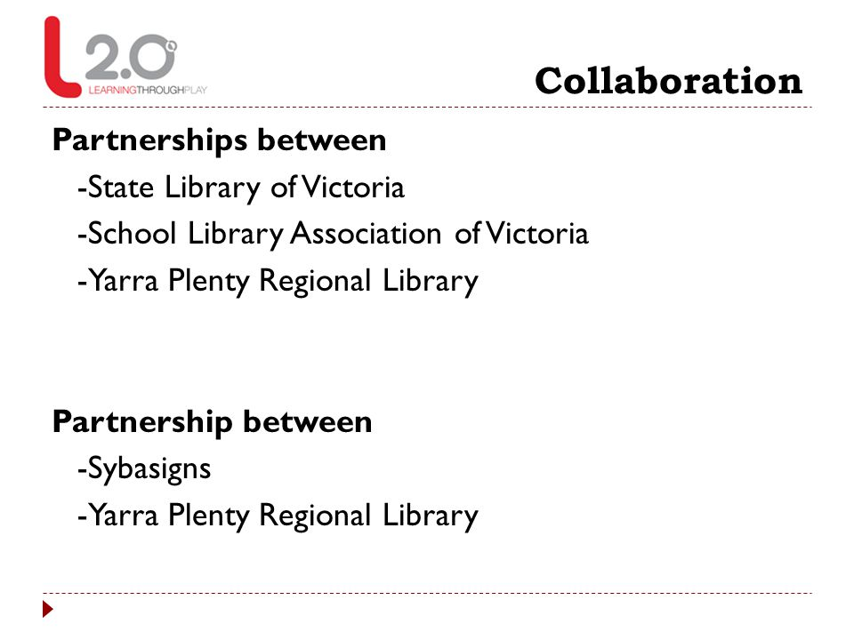 Collaboration Partnerships between -State Library of Victoria -School Library Association of Victoria -Yarra Plenty Regional Library Partnership betwe
