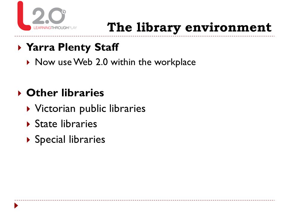 The library environment  Yarra Plenty Staff  Now use Web 2.0 within the workplace  Other libraries  Victorian public libraries  State libraries 