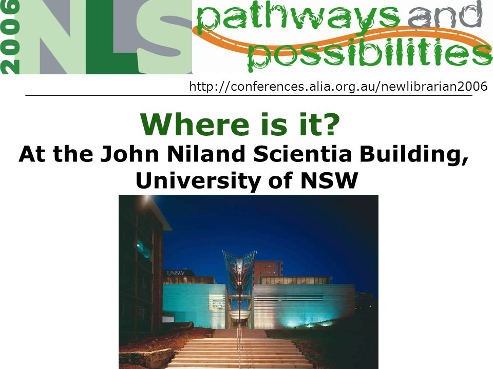 http://conferences.alia.org.au/newlibrarian2006 Where is it.