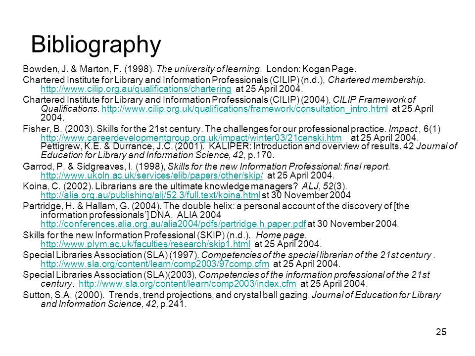 25 Bibliography Bowden, J. & Marton, F. (1998). The university of learning.