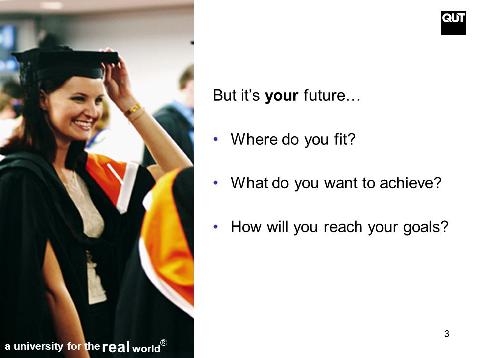 3 But it's your future… Where do you fit. What do you want to achieve.