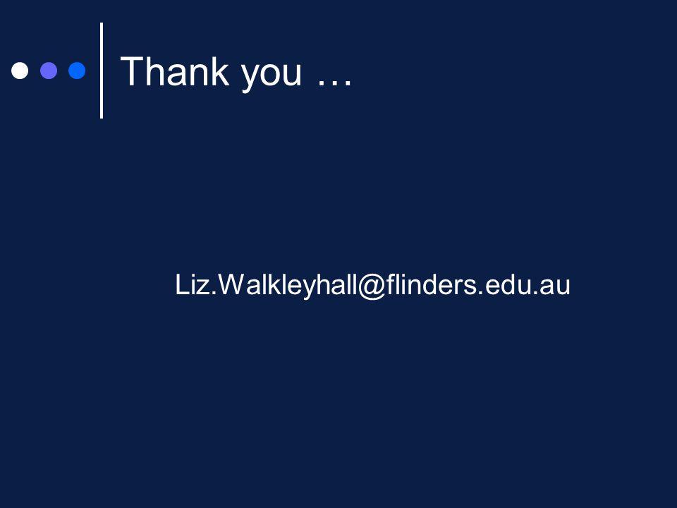 Thank you … Liz.Walkleyhall@flinders.edu.au