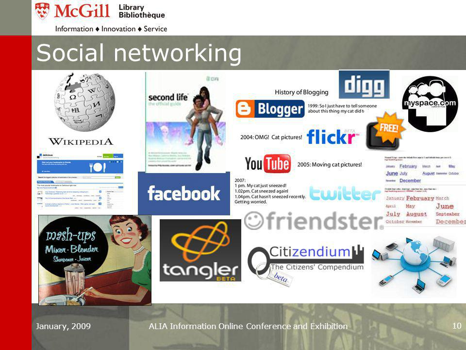 January, 2009ALIA Information Online Conference and Exhibition 10 Social networking
