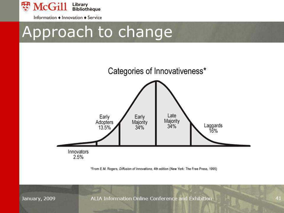 Approach to change January, 2009ALIA Information Online Conference and Exhibition 41