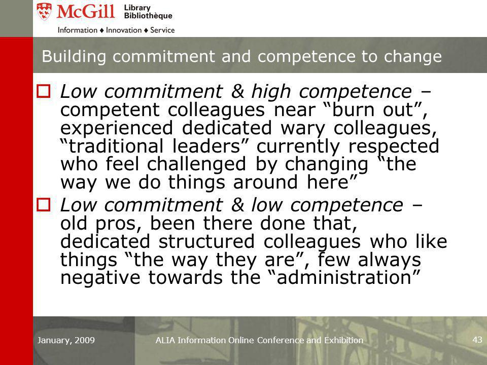 Building commitment and competence to change  Low commitment & high competence – competent colleagues near burn out , experienced dedicated wary colleagues, traditional leaders currently respected who feel challenged by changing the way we do things around here  Low commitment & low competence – old pros, been there done that, dedicated structured colleagues who like things the way they are , few always negative towards the administration January, 2009ALIA Information Online Conference and Exhibition 43