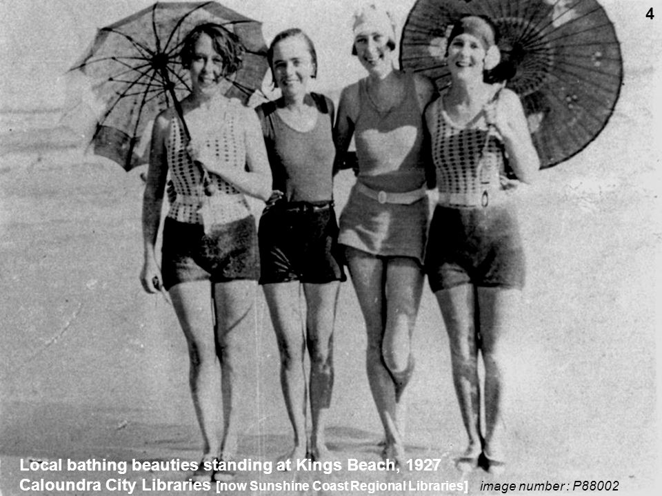 Local bathing beauties standing at Kings Beach, 1927 Caloundra City Libraries [now Sunshine Coast Regional Libraries] image number : P88002 4
