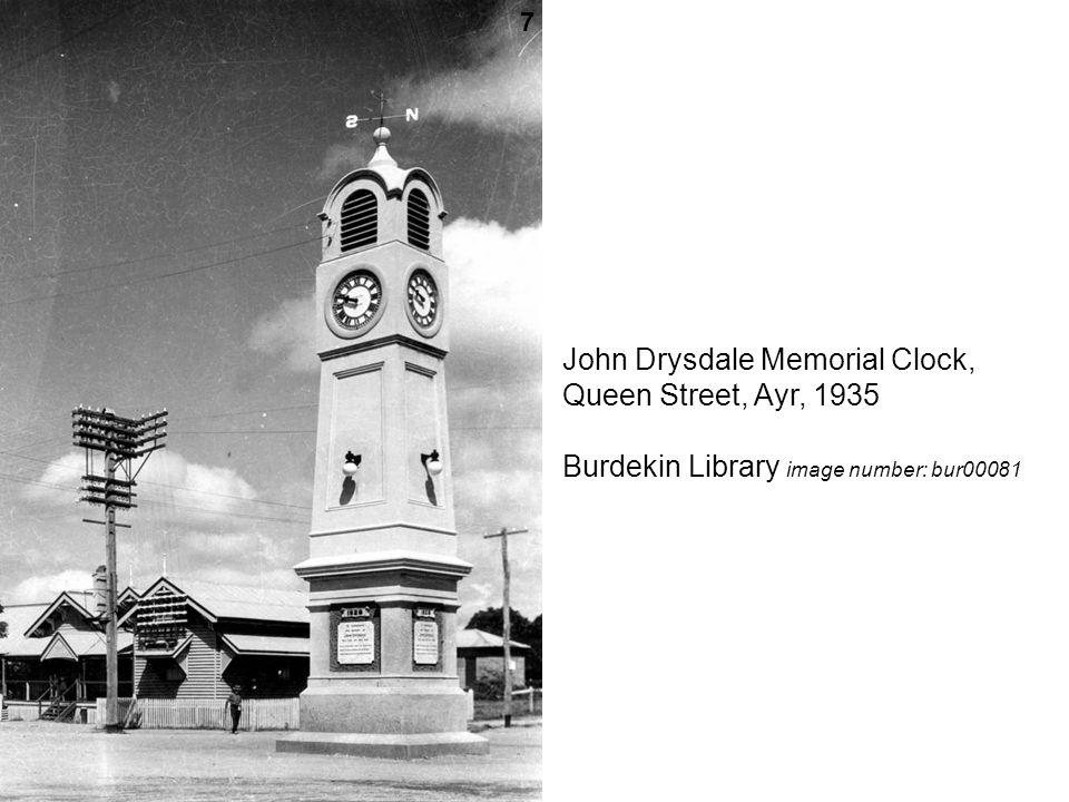John Drysdale Memorial Clock, Queen Street, Ayr, 1935 Burdekin Library image number: bur00081 7