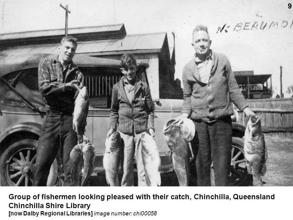 Group of fishermen looking pleased with their catch, Chinchilla, Queensland Chinchilla Shire Library [now Dalby Regional Libraries] image number: chi0