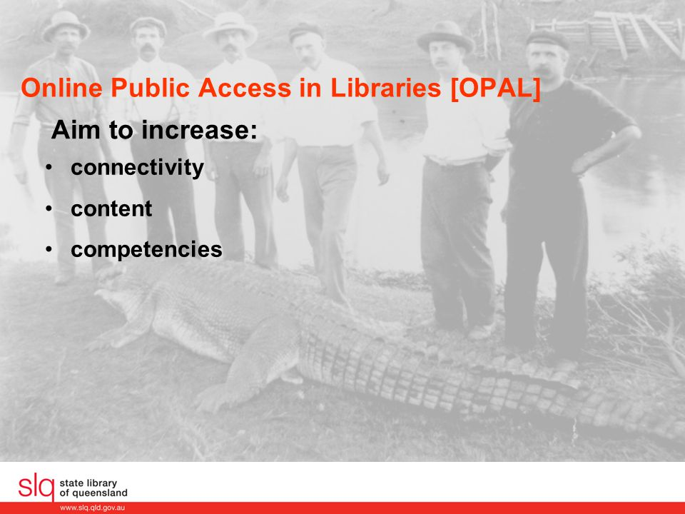 Local databases Benefits No need to re-skill staff Contributors index using their local system and workflows Contributors retain local copy of record Able to utilise pre-existing records Clients can find images within local library OPAC Library equipment and support already in place