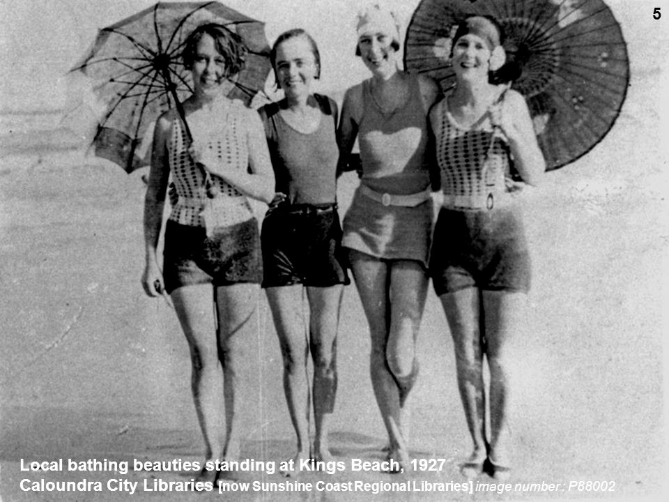 Local bathing beauties standing at Kings Beach, 1927 Caloundra City Libraries [now Sunshine Coast Regional Libraries] image number : P88002 5