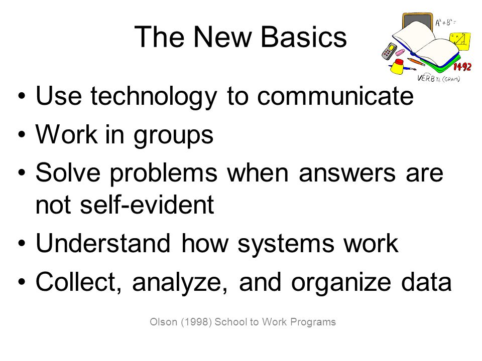 The New Basics Use technology to communicate Work in groups Solve problems when answers are not self-evident Understand how systems work Collect, analyze, and organize data Olson (1998) School to Work Programs