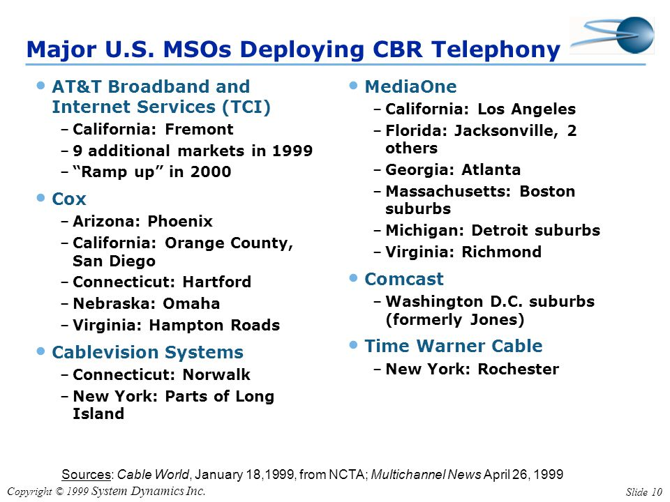 Copyright © 1999 System Dynamics Inc. Slide 10 Sources: Cable World, January 18,1999, from NCTA; Multichannel News April 26, 1999 Major U.S. MSOs Depl