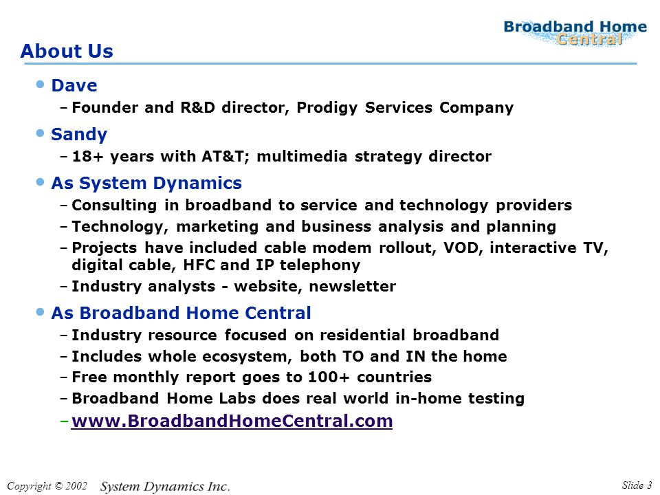 Copyright © 2002 Slide 3 About Us Dave –Founder and R&D director, Prodigy Services Company Sandy –18+ years with AT&T; multimedia strategy director As System Dynamics –Consulting in broadband to service and technology providers –Technology, marketing and business analysis and planning –Projects have included cable modem rollout, VOD, interactive TV, digital cable, HFC and IP telephony –Industry analysts - website, newsletter As Broadband Home Central –Industry resource focused on residential broadband –Includes whole ecosystem, both TO and IN the home –Free monthly report goes to 100+ countries –Broadband Home Labs does real world in-home testing –www.BroadbandHomeCentral.comwww.BroadbandHomeCentral.com