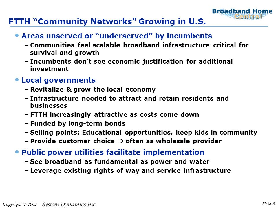 Copyright © 2002 Slide 8 FTTH Community Networks Growing in U.S.