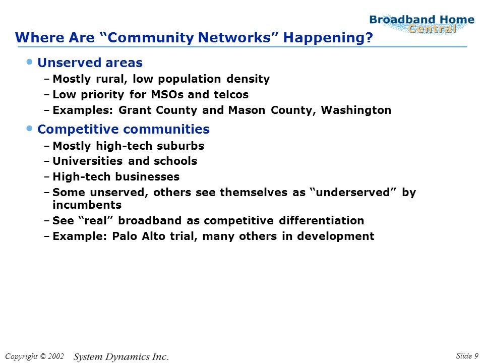 "Copyright © 2002 Slide 9 Where Are ""Community Networks"" Happening? Unserved areas –Mostly rural, low population density –Low priority for MSOs and tel"