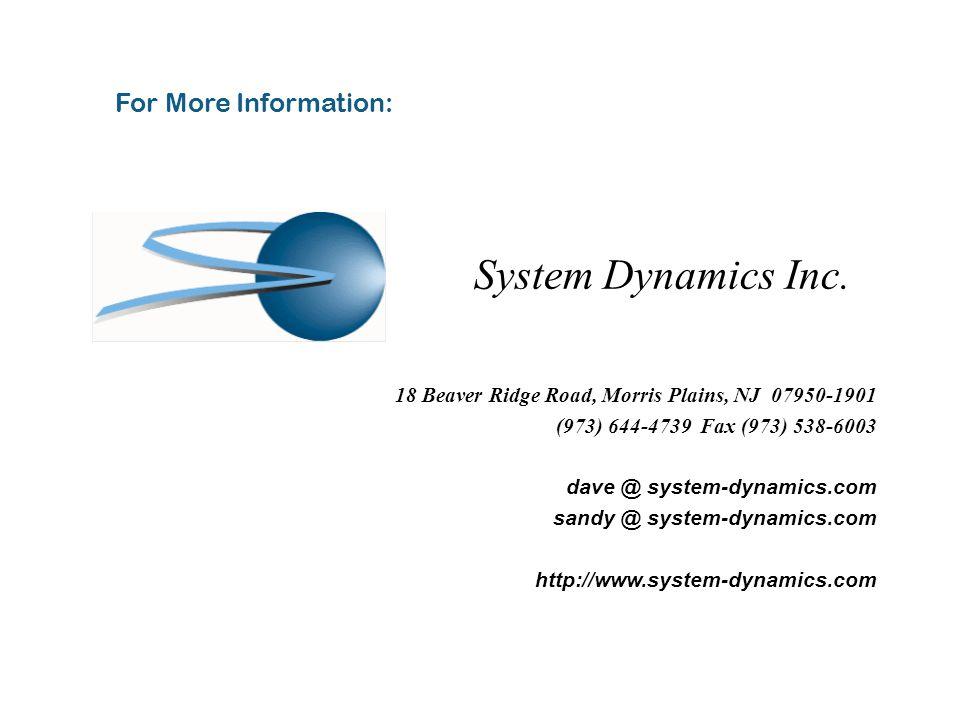18 Beaver Ridge Road, Morris Plains, NJ 07950-1901 (973) 644-4739 Fax (973) 538-6003 dave @ system-dynamics.com sandy @ system-dynamics.com http://www.system-dynamics.com For More Information: System Dynamics Inc.