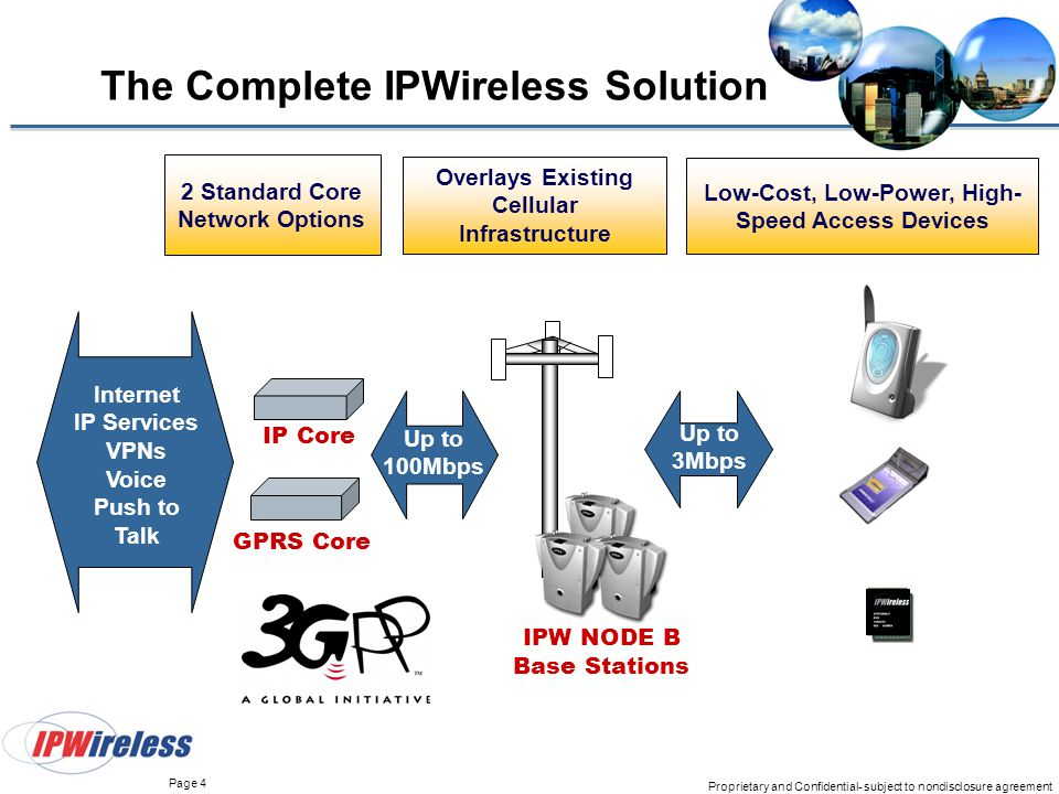 Page 4 Proprietary and Confidential- subject to nondisclosure agreement The Complete IPWireless Solution IPW NODE B Base Stations IP Core Internet IP