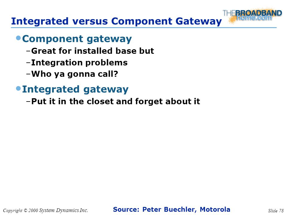 Copyright © 2000 System Dynamics Inc. Slide 78 Integrated versus Component Gateway Component gateway –Great for installed base but –Integration proble