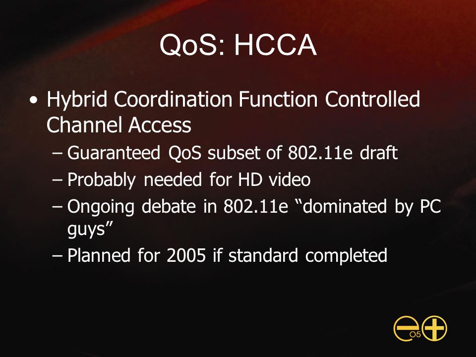 QoS: HCCA Hybrid Coordination Function Controlled Channel Access –Guaranteed QoS subset of 802.11e draft –Probably needed for HD video –Ongoing debate in 802.11e dominated by PC guys –Planned for 2005 if standard completed