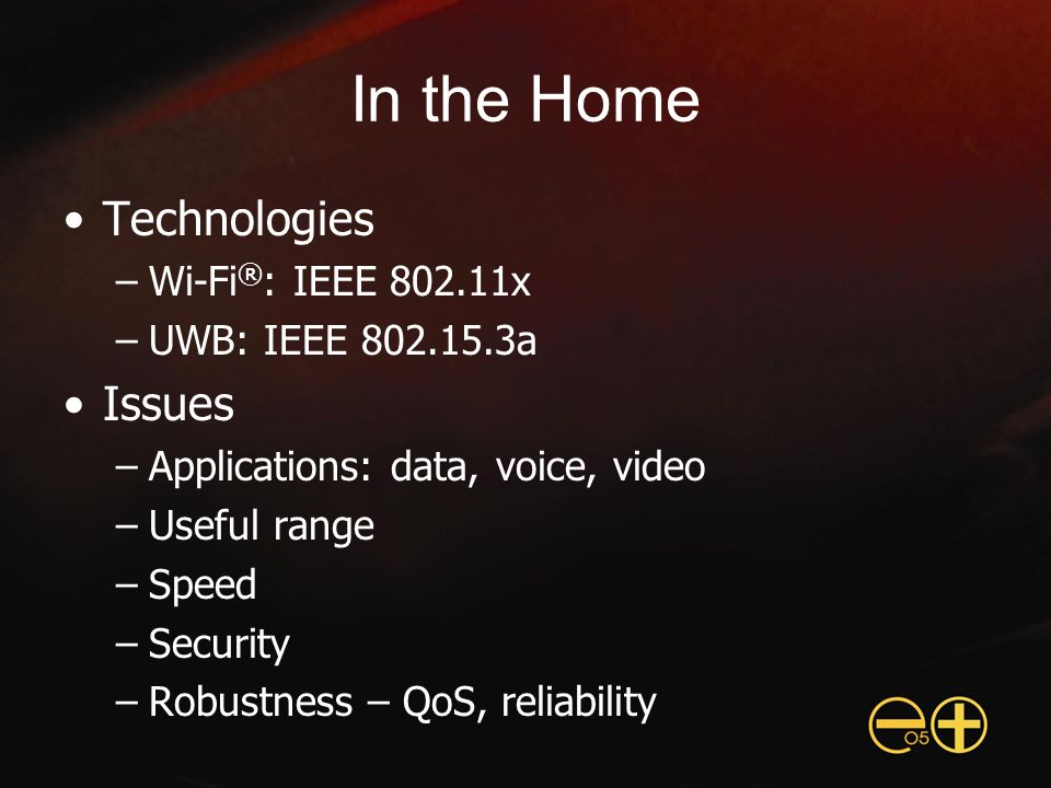 QoS: 802.11e and WMM™ QoS needed for audio, voice, video Original Wi-Fi ® didn't have QoS IEEE 802.11e is new QoS standard –Still in process after more than 4 years –Both prioritized and guaranteed QoS WMM (Wi-Fi Multimedia) –Prioritized QoS subset of 802.11e draft –Widely accepted by 802.11e members –Added to Wi-Fi certification in September 2004 –Already included in some products