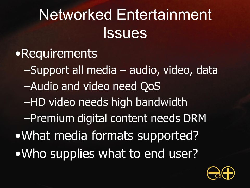 Networked Entertainment Issues Requirements –Support all media – audio, video, data –Audio and video need QoS –HD video needs high bandwidth –Premium digital content needs DRM What media formats supported.