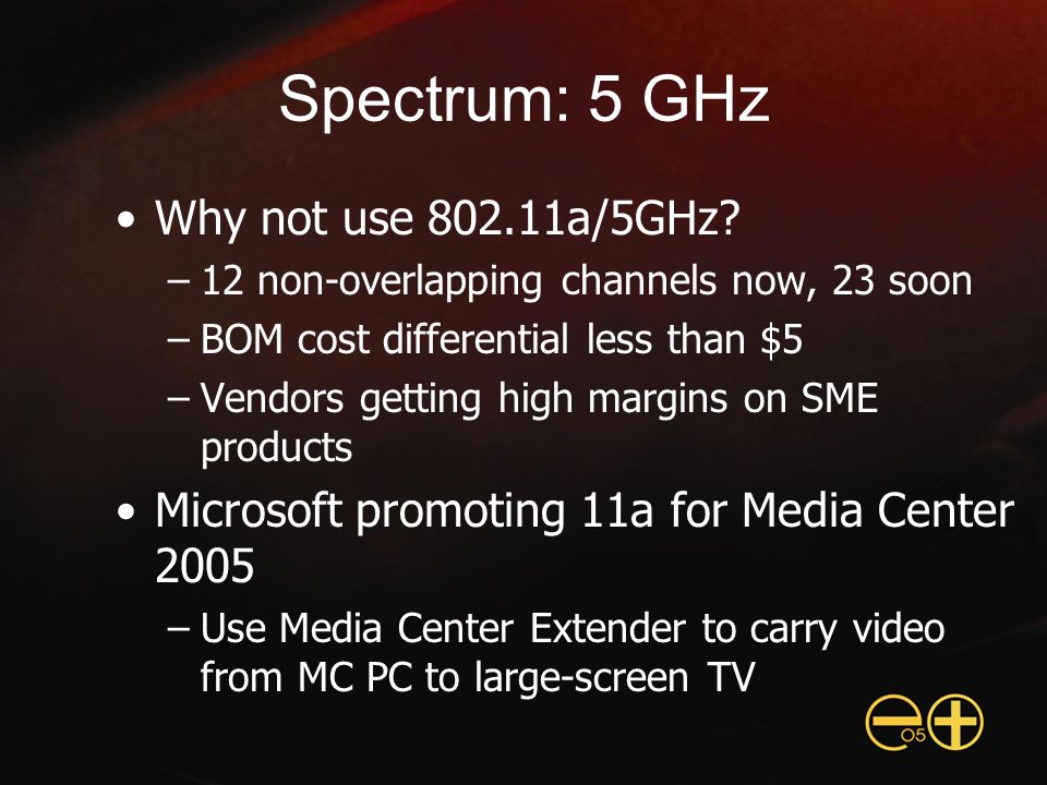 Spectrum: 5 GHz Why not use 802.11a/5GHz.