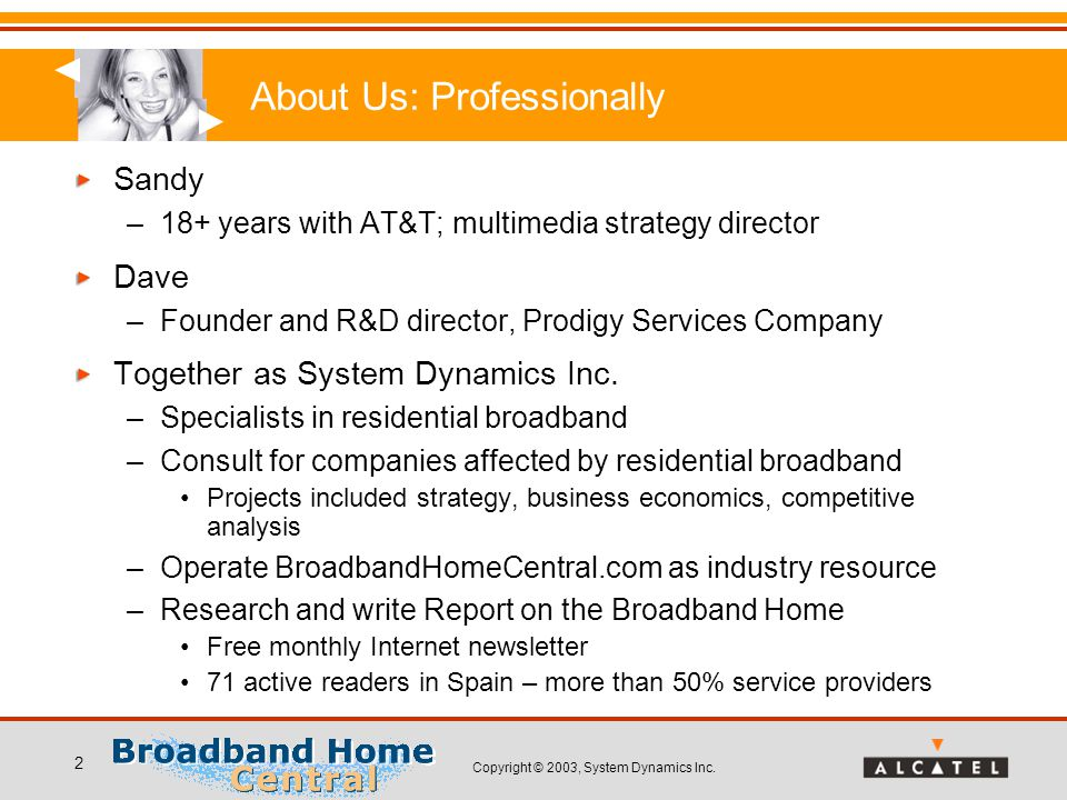 Copyright © 2003, System Dynamics Inc. 2 About Us: Professionally Sandy –18+ years with AT&T; multimedia strategy director Dave –Founder and R&D direc