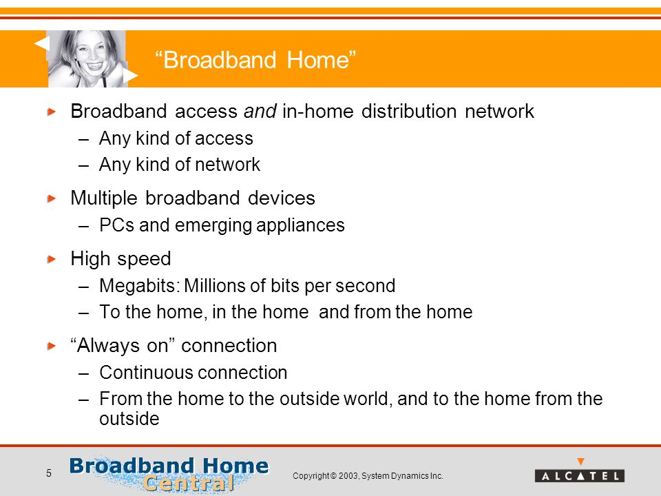"""Copyright © 2003, System Dynamics Inc. 5 """"Broadband Home"""" Broadband access and in-home distribution network –Any kind of access –Any kind of network M"""