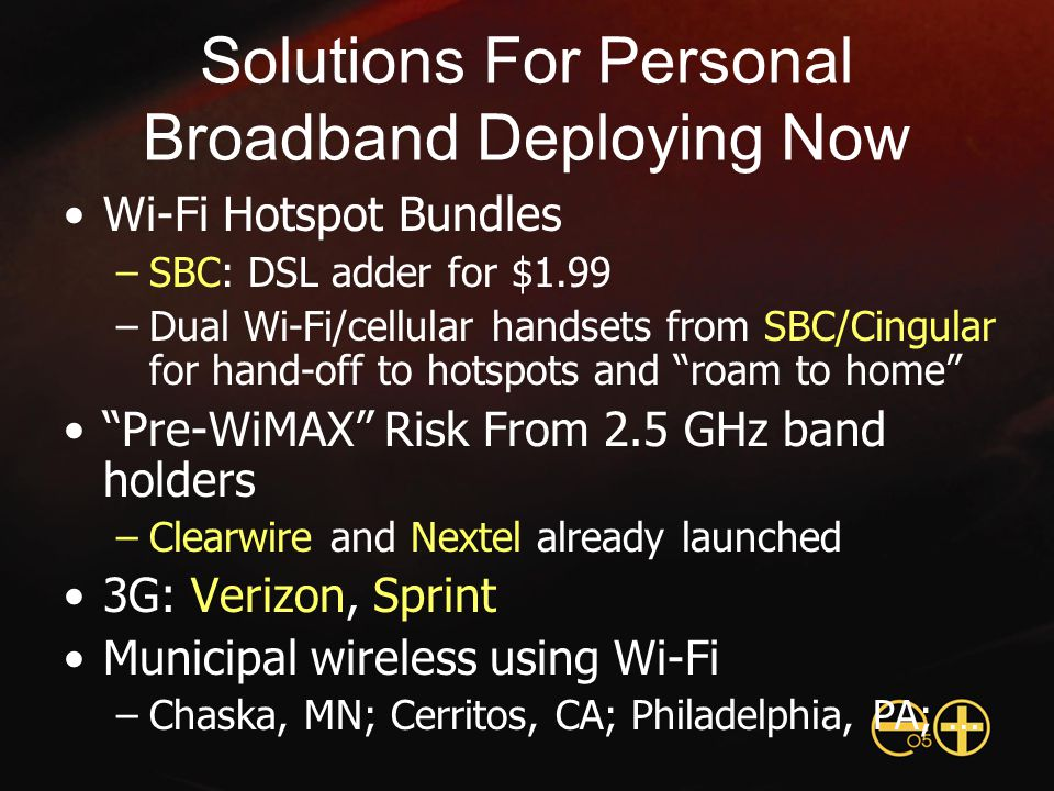 Solutions For Personal Broadband Deploying Now Wi-Fi Hotspot Bundles –SBC: DSL adder for $1.99 –Dual Wi-Fi/cellular handsets from SBC/Cingular for hand-off to hotspots and roam to home Pre-WiMAX Risk From 2.5 GHz band holders –Clearwire and Nextel already launched 3G: Verizon, Sprint Municipal wireless using Wi-Fi –Chaska, MN; Cerritos, CA; Philadelphia, PA; …
