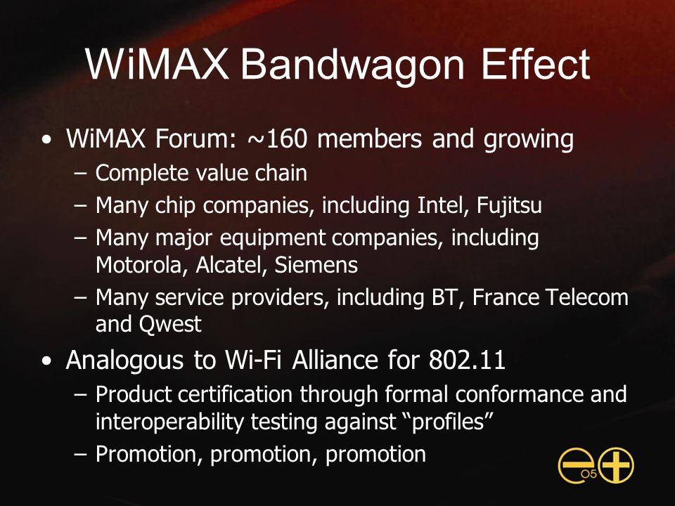WiMAX Status Pre-certification products shipping now –Based on earlier 802.16a standard –Expensive base stations and CPE – enterprise focus Certified products in 2005 –Based on 802.16-2004 –Licensed 2.5 GHz (U.S.) and 3.5 GHz (ROW) –License-free 5.8 GHz – Plugfest interoperability testing started 2004 –Formal certification testing ~1H05 Mobile WiMAX expected late 2006 –CPE bundled in laptops by 2007