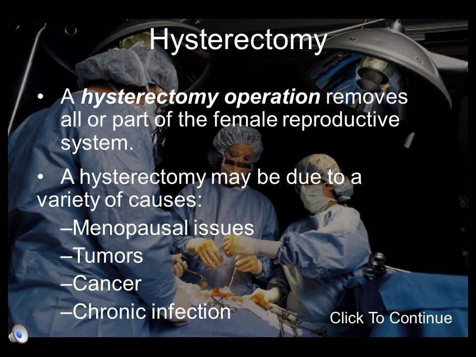 Hysterectomy A hysterectomy operation removes all or part of the female reproductive system. Click To Continue A hysterectomy may be due to a variety