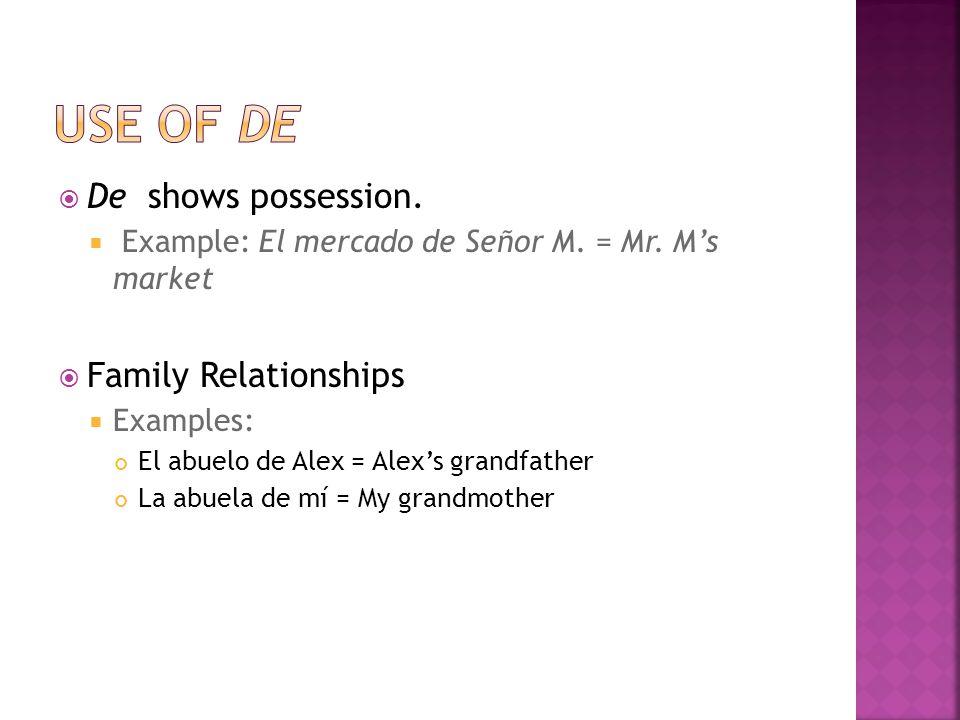  De shows possession.  Example: El mercado de Señor M.