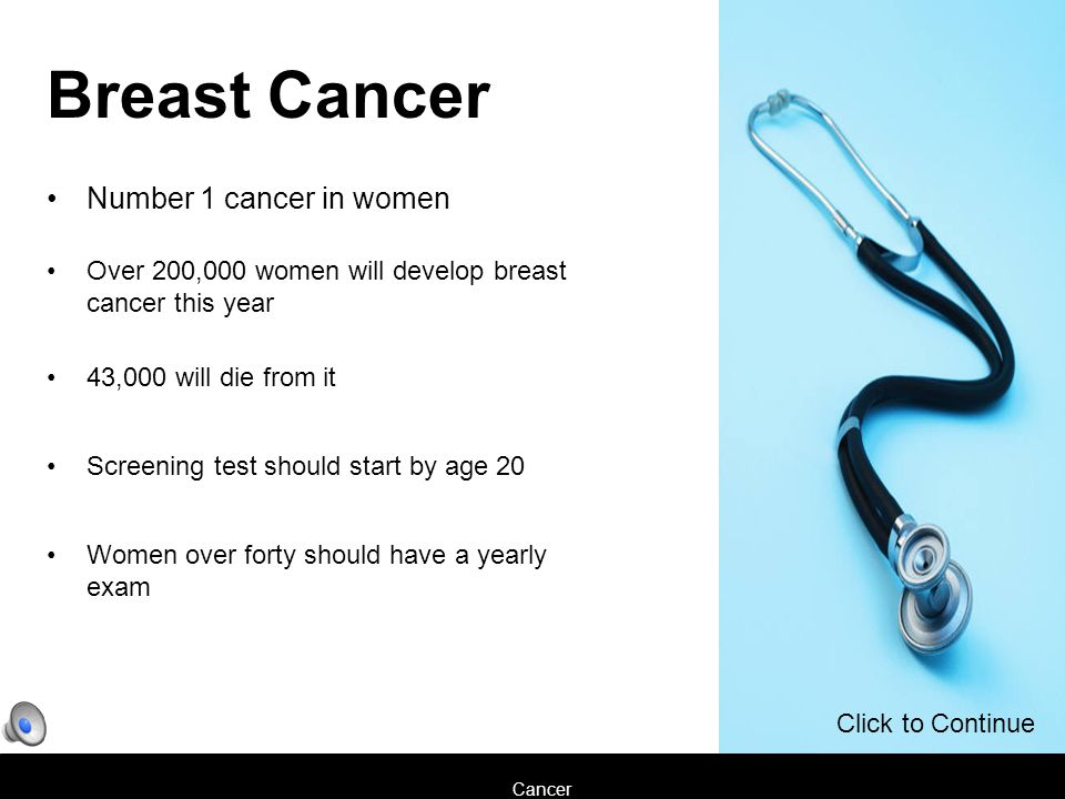Cancer Breast Cancer Number 1 cancer in women Over 200,000 women will develop breast cancer this year 43,000 will die from it Screening test should start by age 20 Women over forty should have a yearly exam Click to Continue