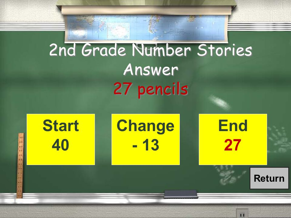 2nd Grade Change Number Stories / Maria's brother had 40 pencils at the beginning of the year.