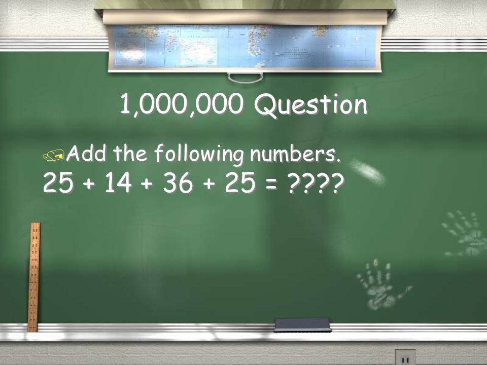 Million Dollar Question Grade 3 Addition