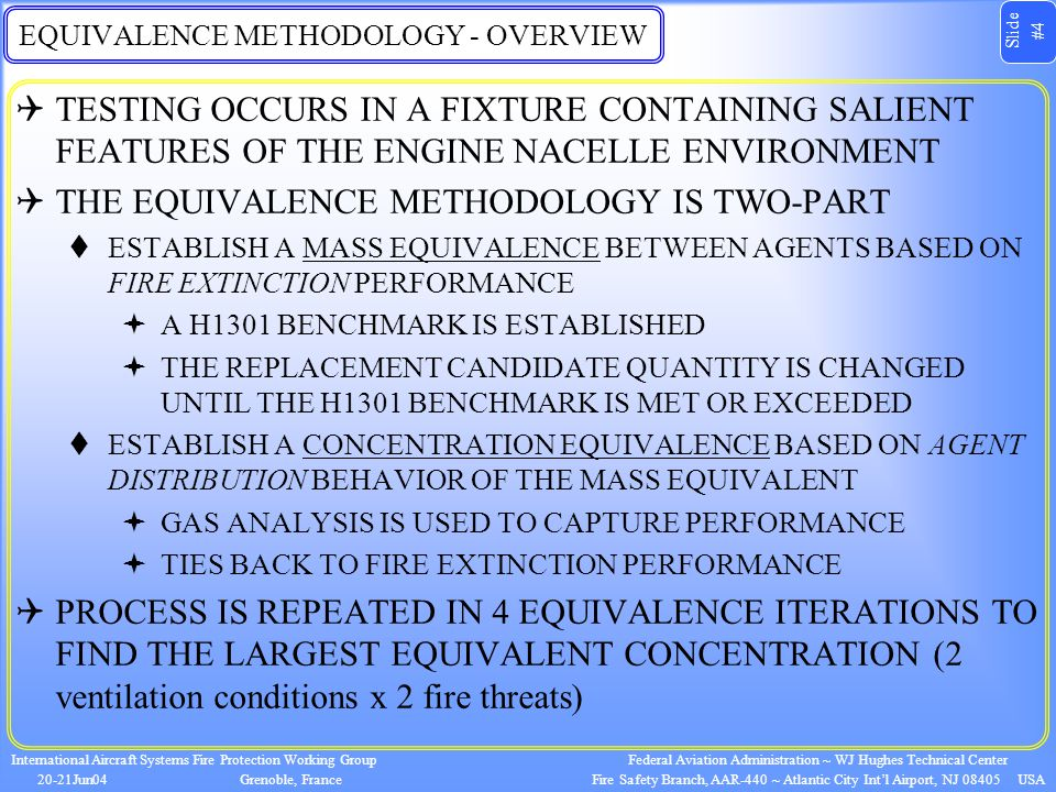 Slide #4 International Aircraft Systems Fire Protection Working Group 20-21Jun04Grenoble, France Federal Aviation Administration ~ WJ Hughes Technical