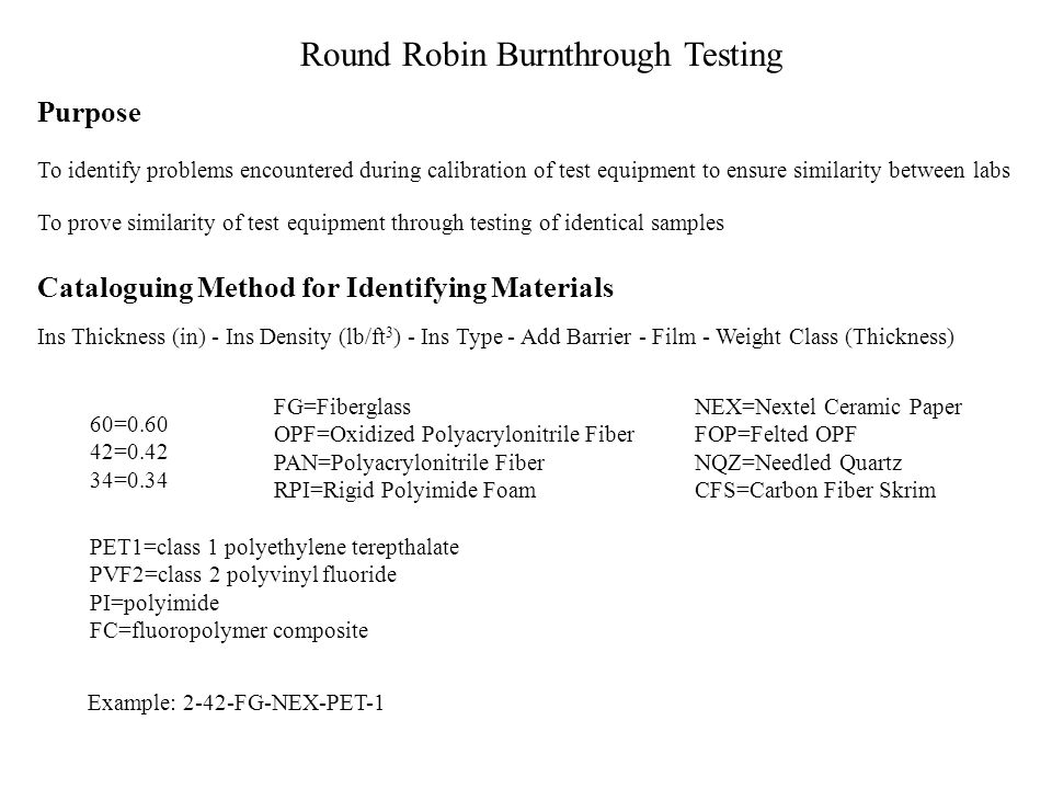 Round Robin Burnthrough Testing Material Selection Quick-Failing Material (< 1 minute) Long Duration Passing Material (> 5 minutes) 1-2 Minute Materia
