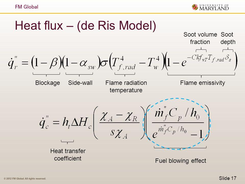 Slide 17 Heat flux – (de Ris Model) BlockageSide-wallFlame radiation temperature Flame emissivity Soot volume fraction Soot depth Heat transfer coeffi