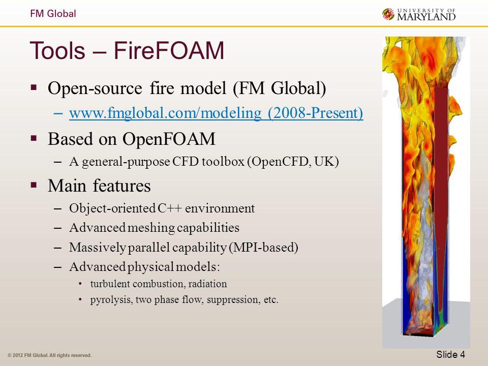 Tools – FireFOAM  Open-source fire model (FM Global) – www.fmglobal.com/modeling (2008-Present)  Based on OpenFOAM – A general-purpose CFD toolbox (