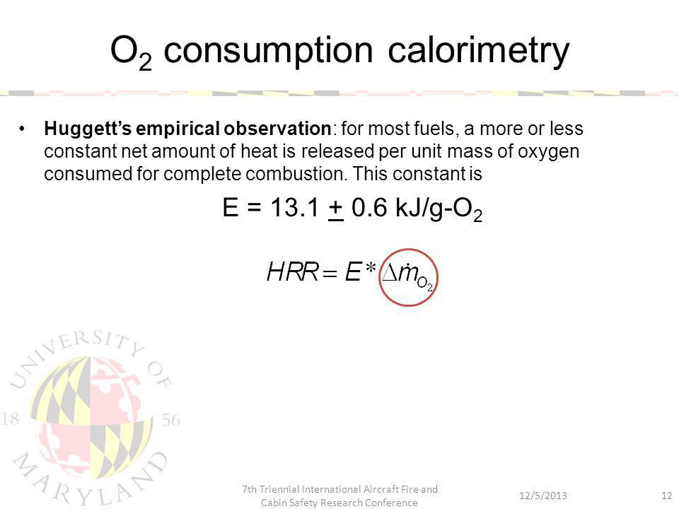 Huggett's empirical observation: for most fuels, a more or less constant net amount of heat is released per unit mass of oxygen consumed for complete