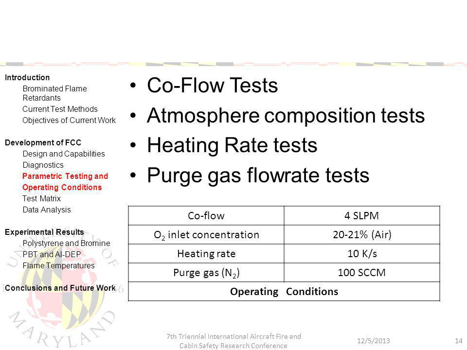 Co-Flow Tests Atmosphere composition tests Heating Rate tests Purge gas flowrate tests 12/5/2013 7th Triennial International Aircraft Fire and Cabin S