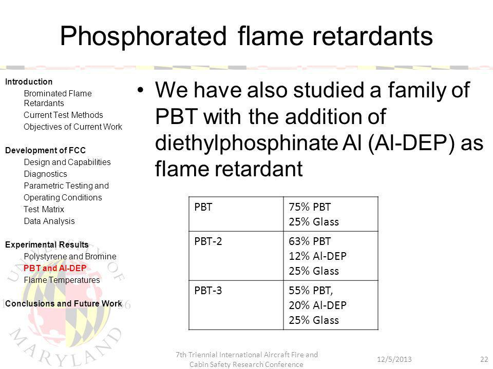 Phosphorated flame retardants We have also studied a family of PBT with the addition of diethylphosphinate Al (Al-DEP) as flame retardant 12/5/2013 7t