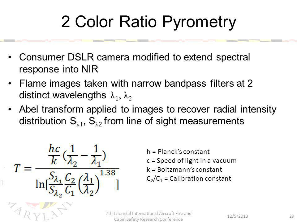 Consumer DSLR camera modified to extend spectral response into NIR Flame images taken with narrow bandpass filters at 2 distinct wavelengths λ 1, λ 2