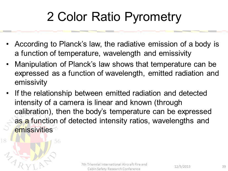 According to Planck's law, the radiative emission of a body is a function of temperature, wavelength and emissivity Manipulation of Planck's law shows
