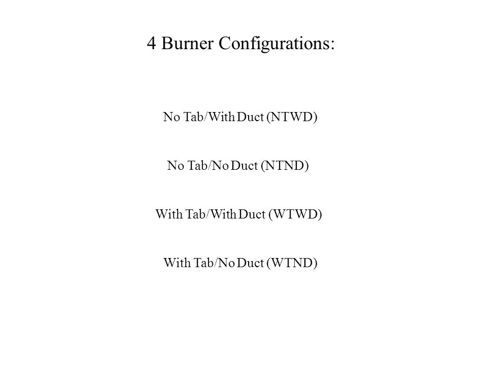 No Tab/With Duct (NTWD) 4 Burner Configurations: With Tab/With Duct (WTWD) No Tab/No Duct (NTND) With Tab/No Duct (WTND)
