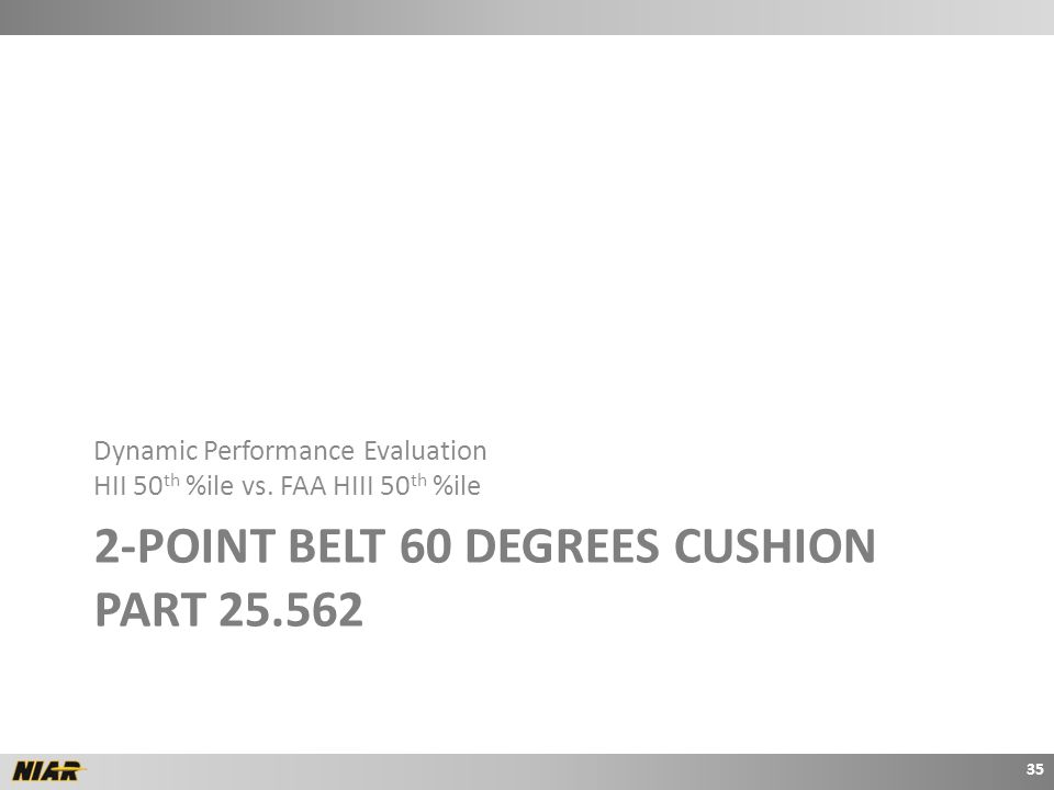2-POINT BELT 60 DEGREES CUSHION PART 25.562 Dynamic Performance Evaluation HII 50 th %ile vs.