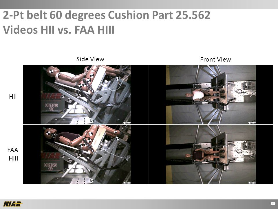 2-Pt belt 60 degrees Cushion Part 25.562 Videos HII vs.