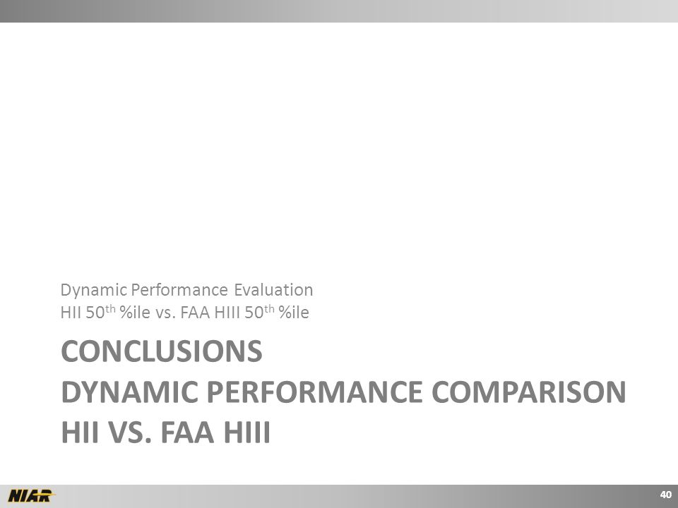 CONCLUSIONS DYNAMIC PERFORMANCE COMPARISON HII VS.
