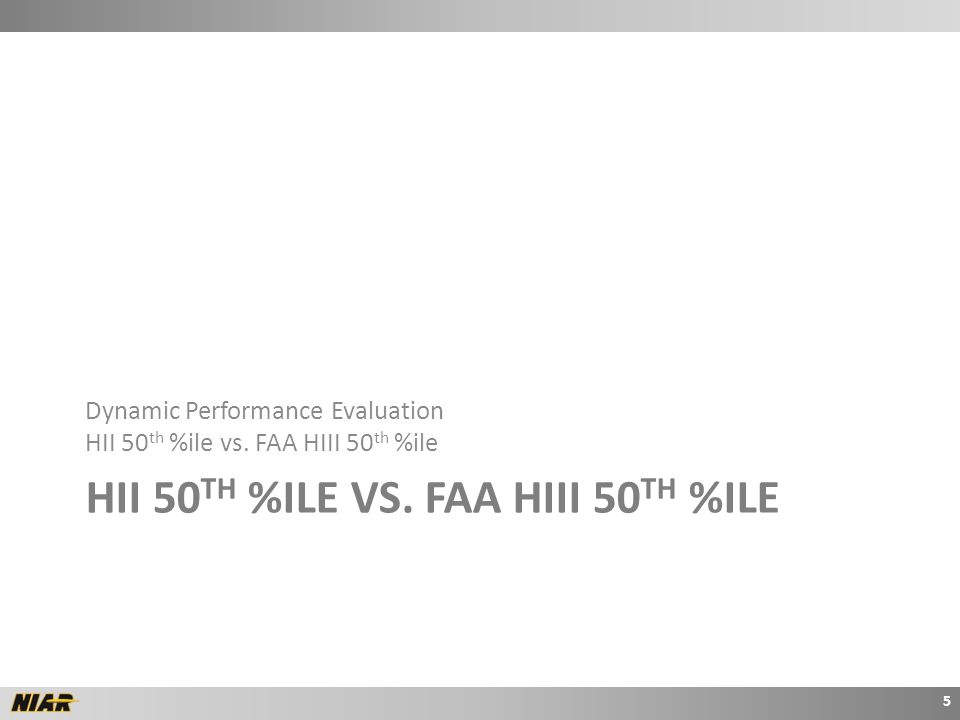 HII 50 TH %ILE VS. FAA HIII 50 TH %ILE Dynamic Performance Evaluation HII 50 th %ile vs.